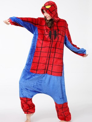Cute Flannel Loungewear Spider-Man Onesie Pajamas For Adults