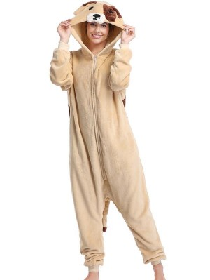 Cute Flannel Loungewear Pekingese Onesie Pajamas For Adults