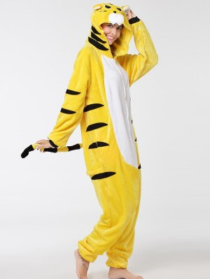 Cute Flannel Loungewear Yellow Tiger Onesie Pajamas For Adults