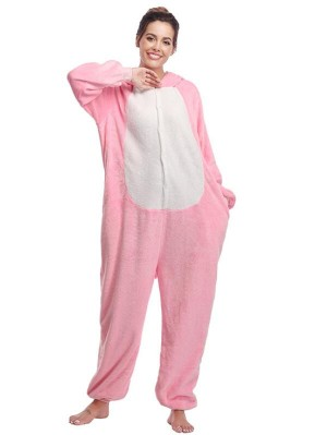 Cute Flannel Loungewear Pink Mouse Onesie Pajamas For Adults