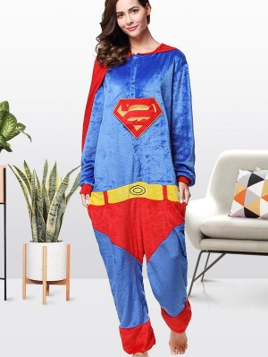 Cute Flannel Loungewear Superman Onesie Pajamas For Adults