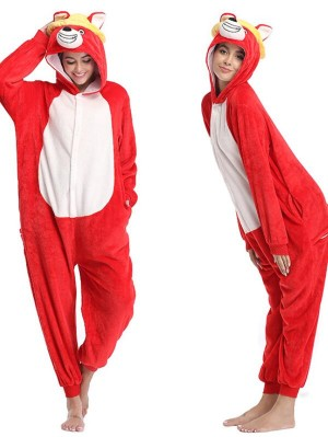 Cute Flannel Loungewear Red Dog Onesie Pajamas For Adults