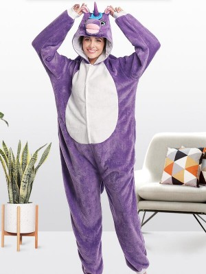 Cute Flannel Loungewear Purple Unicorn Onesie Pajamas For Adults