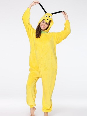 Cute Flannel Loungewear Yellow Dog Onesie Pajamas For Adults