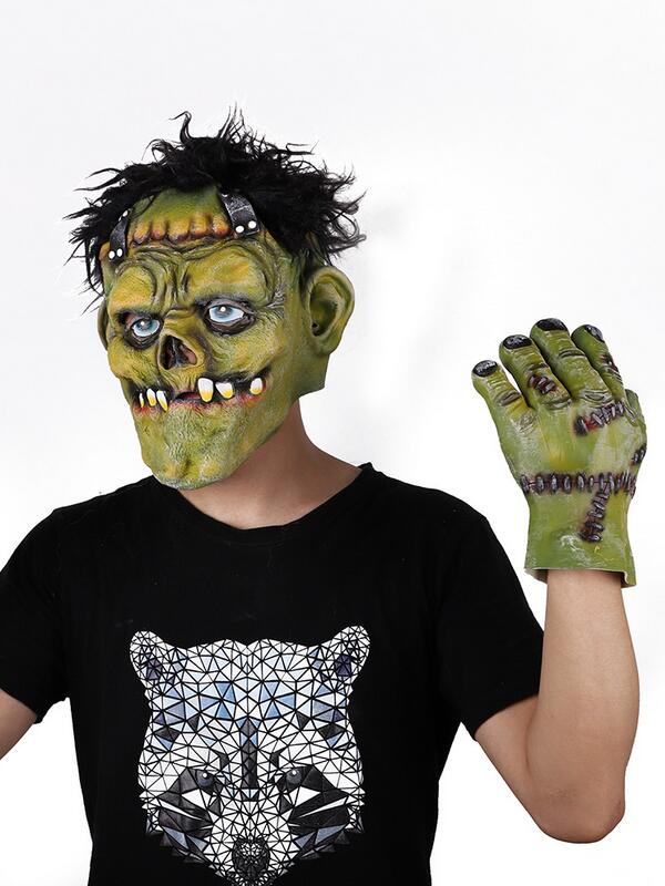 Halloween Masquerade Latex Horror Mask With Gloves