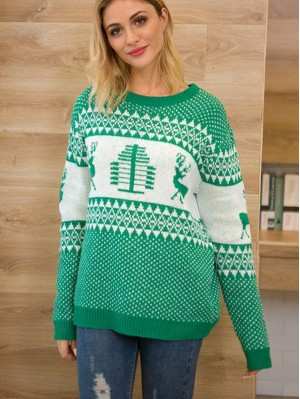Women's Loose Elk Pattern Christmas Sweater Long Sleeve Knitwear