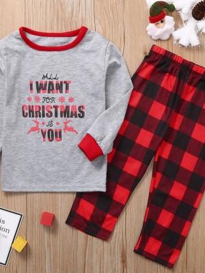 Cotton Christmas Family Matching Pajamas Plaid Print Loungewear