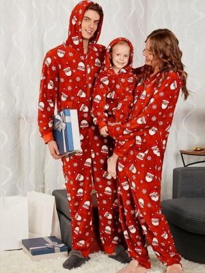Christmas Loungewear Hooded Santa Claus Print Family Matching Jumpers