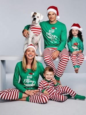 Christmas Family Matching Pajamas Set STOP Elfing AROUND Print Loungewear