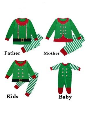 Christmas Family Matching Pajamas Set Green Stripe Loungewear