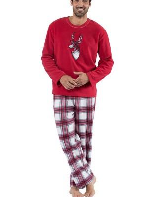 Christmas Family Matching Pajamas Set Elk Print Long Sleeve Plaid Loungewear