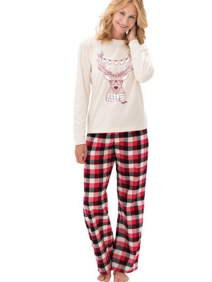 Long Sleeve Elk Print Plaid Christmas Family Matching Pajamas Set