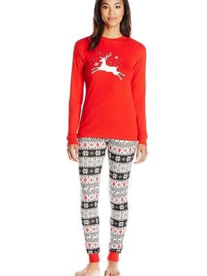 Long Sleeve Christmas Family Matching Pajamas Deer Print Loungewear Set