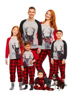Christmas Family Matching Pajamas Set Deer Print Top Plaid Pant