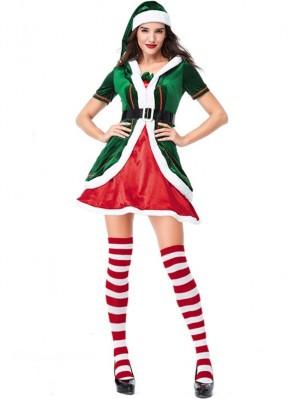 Women's Green Christmas Elf Cosplay Costume Short Sleeve Christmas Costume