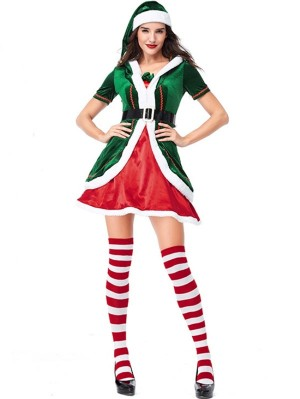 Women's Green Christmas Elf Cosplay Costume Short Sleeve Christmas Costume