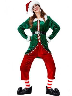 Women's Green Christmas Elf Costume Long Sleeve Christmas Costume