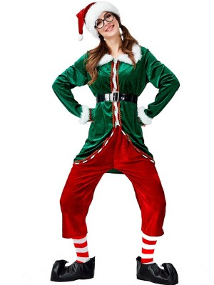 Women's Green Christmas Elf Costume Long Sleeve Christmas Costume