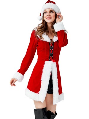 Women's Red Christmas Santa Claus Costume Long Sleeve Christmas Tunic Pant