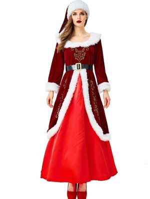 Women's Christmas Queen Costume Red Long Christmas Dress