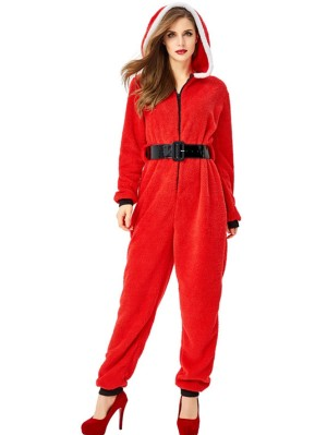Women's Red Christmas Hooded Jumpsuit Santa Claus Party Costume
