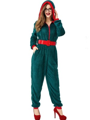 Women's Green Christmas Hooded Jumpsuit Casual Christmas Tree Onesie