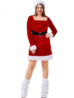Women's Red Christmas Santa Claus Costume Plus Size Long Sleeve Dress