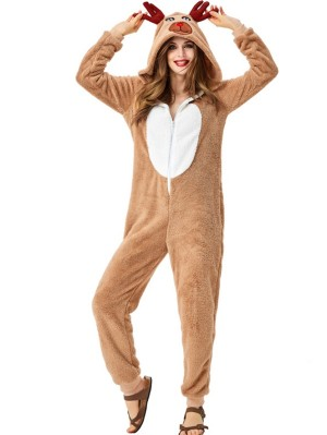 Women's Cute Reindeer Onesie Pajama Loose Animal Costume