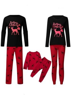 Christmas Matching Pajamas For Family Elk Print Christmas Pajamas Set