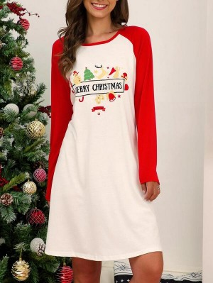 Long Sleeve Round Neck Print A-Line Christmas Dress