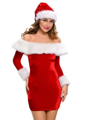 Sexy Off the Shoulder Red Santa Claus Long Sleeve Christmas Dress