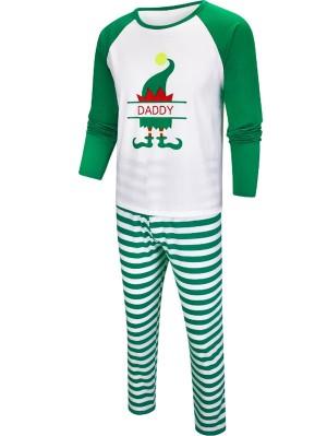 Christmas Matching Pajamas For Family Christmas Green Elf Print Pajamas Set