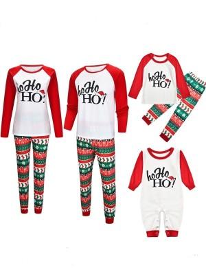 Christmas Matching Pajamas Family Christmas HO HO HO Print Pajamas Set