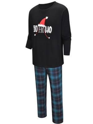 Family Matching Christmas Pajamas Set Christmas Hat HO HO HO Print Pajamas