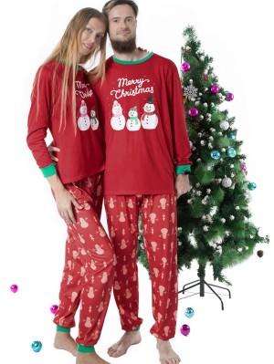 Christmas Matching Pajamas Family Christmas Snowman Print Pajamas Set
