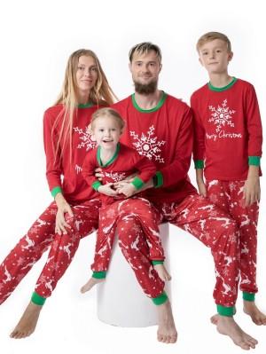 Christmas Matching Pajamas Family Snowflake Print Christmas Pajamas Set