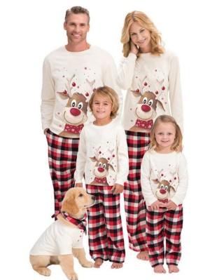 Christmas Matching Family Pajamas Cute Moose Print Christmas Jammies Set