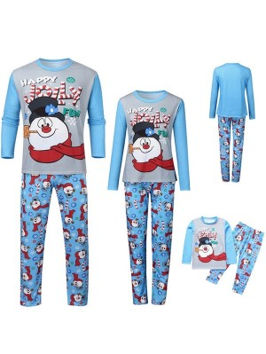 Christmas Matching Family Pajamas Jolly Snowman Print Christmas Jammies Set