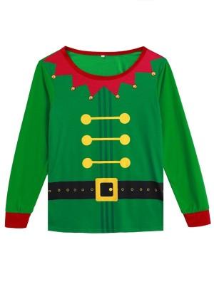 Christmas Family Matching Pajamas Striped Green Elf Jammies Set