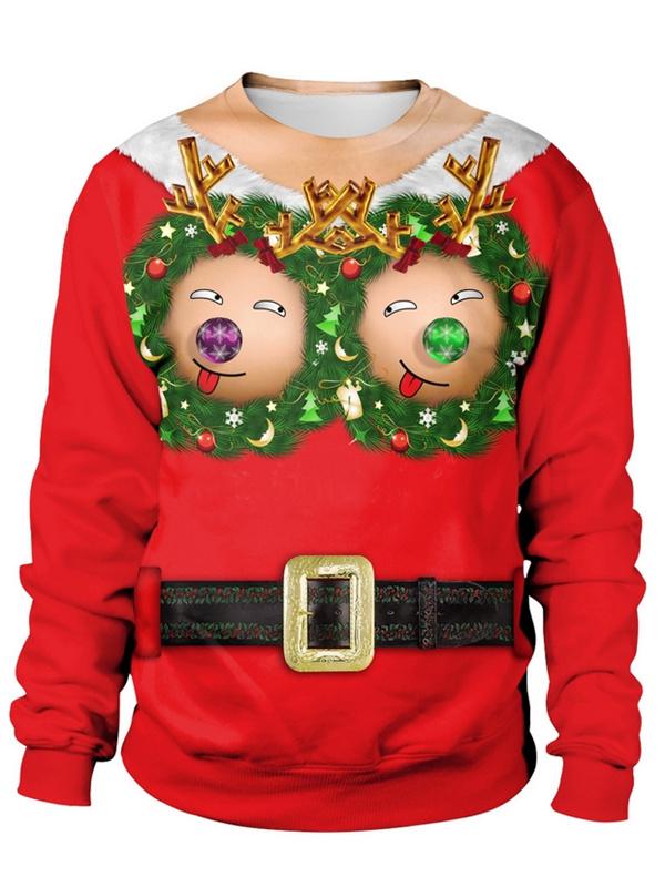 Loose Round Neck 3D Print Long Sleeve Ugly Christmas Sweatshirts