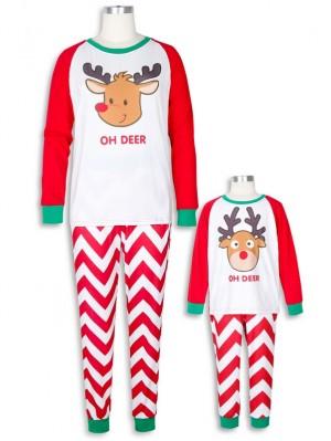 Cute Deer Print  Christmas Family Matching Pajamas Set Wave Striped Christmas Jammies