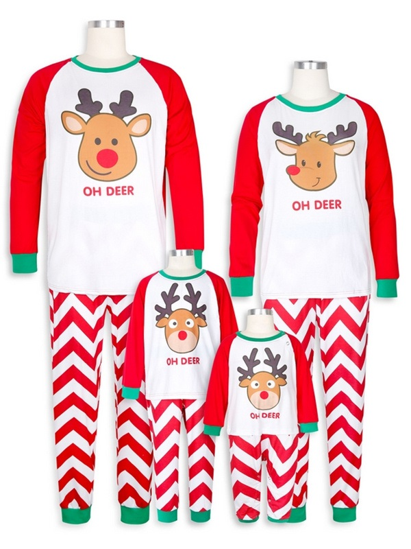 Cute Deer Print  Christmas Family Matching Pajamas Set Wave Striped Christmas Jammies