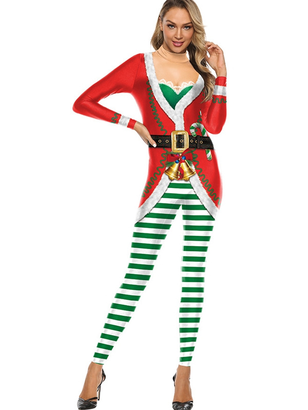 Women's Sexy Green Striped Tight Fitted Christmas Jumpsuit
