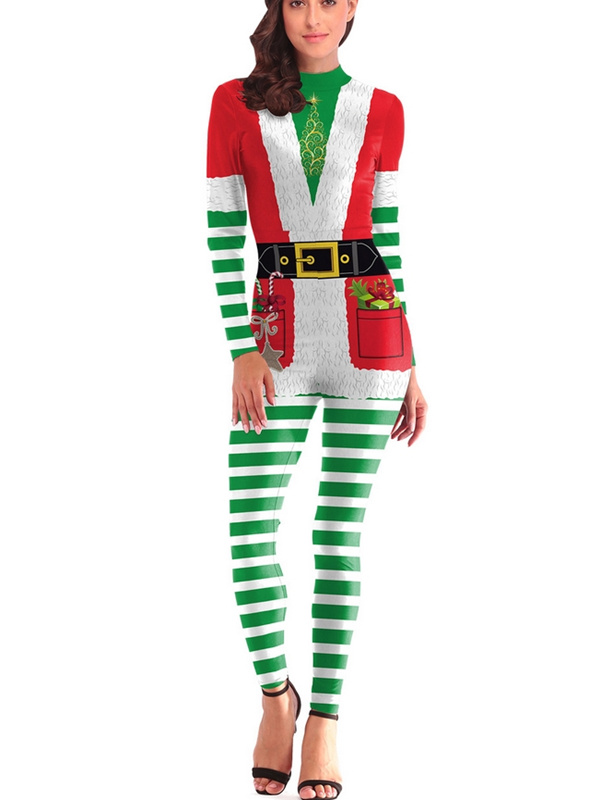 Women's Round Neck Green Striped Tight Fitted Christmas Jumpsuit