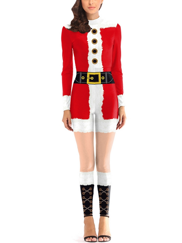 Women's Santa Claus Print Tight Fitted Christmas Jumpsuit