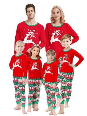 Christmas Family Matching Pajamas Set Long Sleeve Deer Print Jammies
