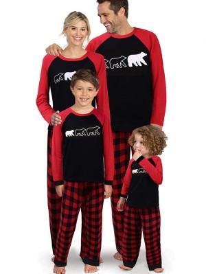 Christmas Family Matching Pajamas Set Plaid Polar Bear Print Jammies