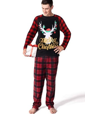 Christmas Family Matching Pajamas Set Plaid Deer Print Jammies