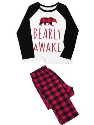 Christmas Family Matching Pajamas Set Plaid Bear Print Jammies