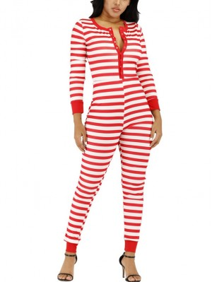 Women's Autumn And Winter Casual Striped Christmas Jumpsuit
